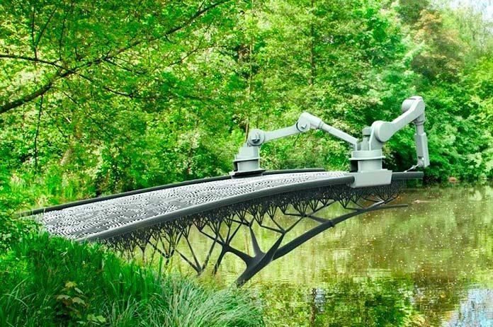 Construyen un puente en Ámsterdam con impresoras 3D.