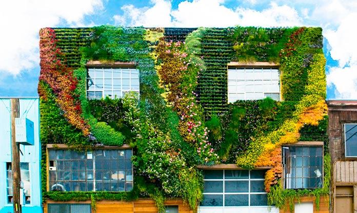 Jardín vertical en fachada de vivienda