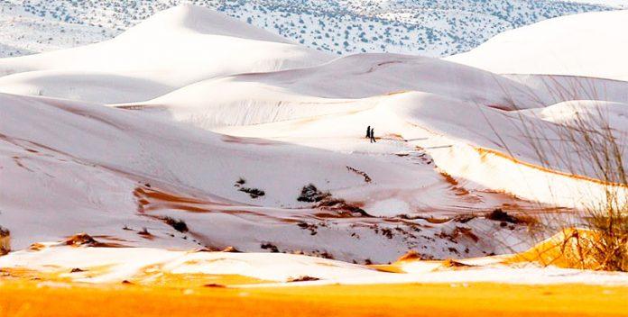 La nieve invade el Sahara por tercera vez en 40 años.