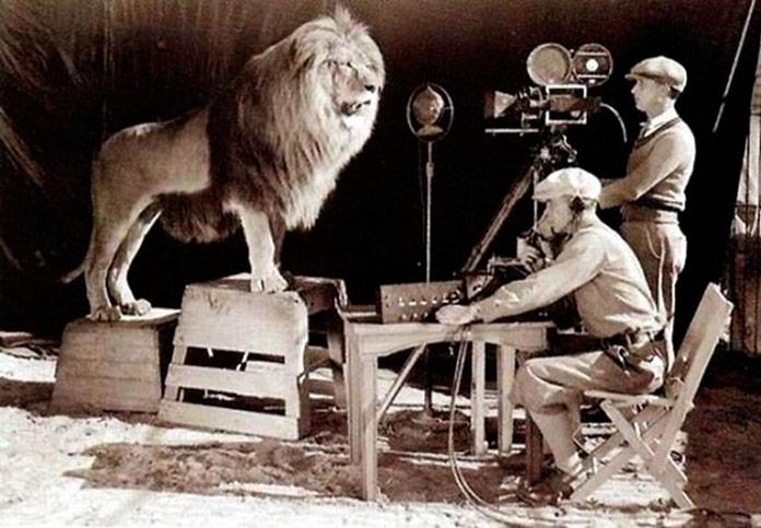 Filmando el logotipo de Metro-Goldwyn-Mayer