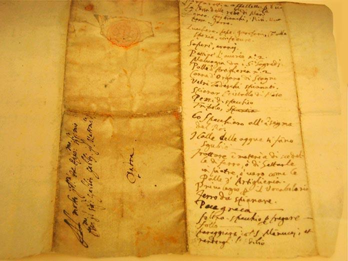 listado de la compra de Galileo Galilei