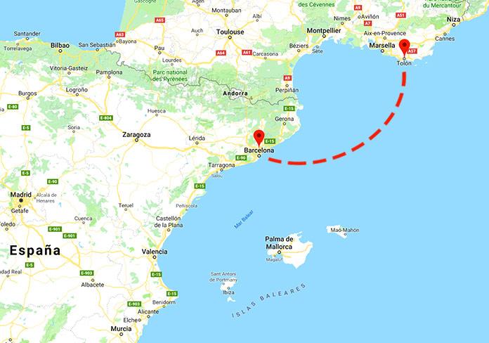 Mapa de situación Barcelona-Tolón