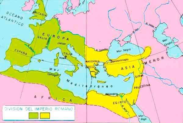 División del Imperio Romano en el año 395 d.C.