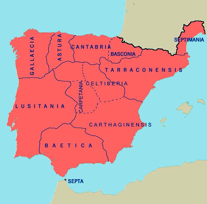 Mapa de Hispania en el siglo VIII