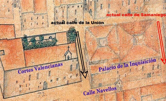 Mapa de Valencia en la Inquisición
