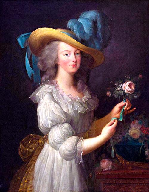 Retrato de María Antonieta con un simple vestido blanco