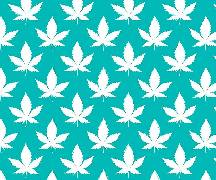fondo verde con dibujos de hojas de marihuana