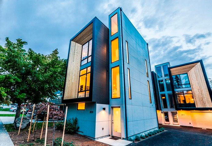 "Casas ecológicas ""Method West Seattle Townhomes"". Washington, Estados Unidos."