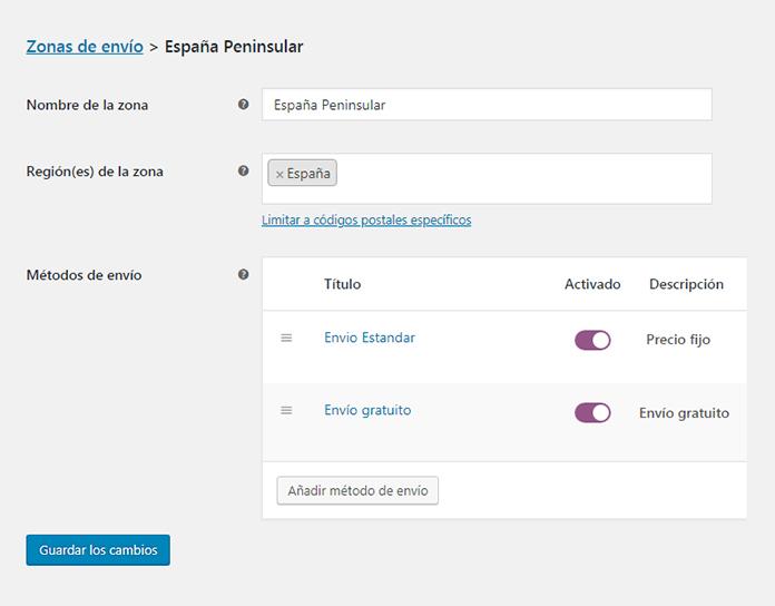 Configura las opciones de envío de tu propia tienda online