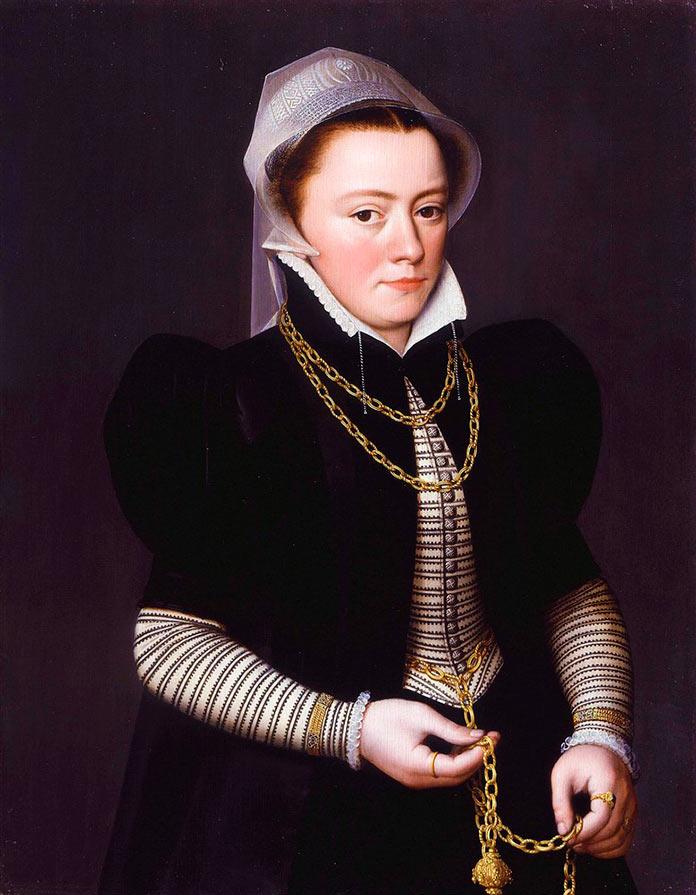 Cuadro de una joven portando un pomander