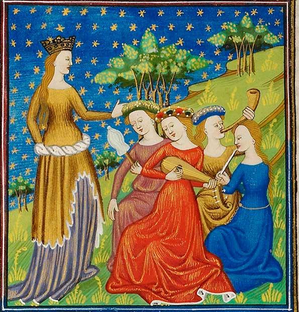 mujeres tocando instrumentos