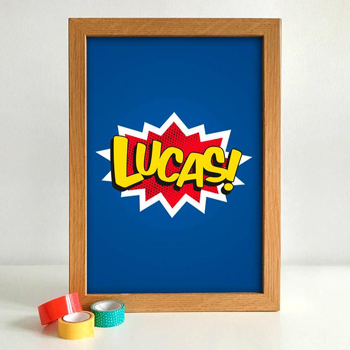 """dibujo tipo cómic con el nombre """"Lucas"""""""