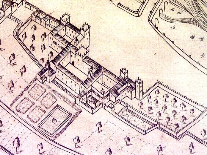 Detalle del mapa del Palacio del Real en 1609