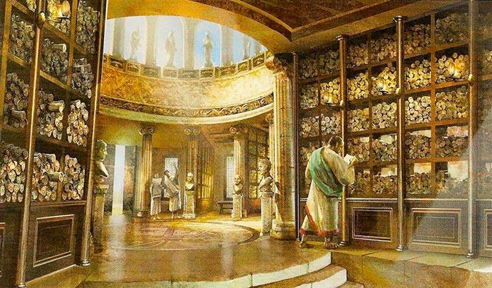 Recreación artística de la biblioteca de Alejandría