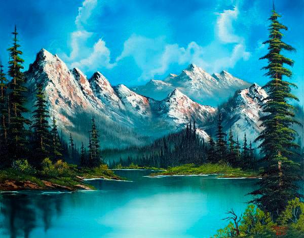 Pintura de montañas alrededor de un lago (Bob Ross)