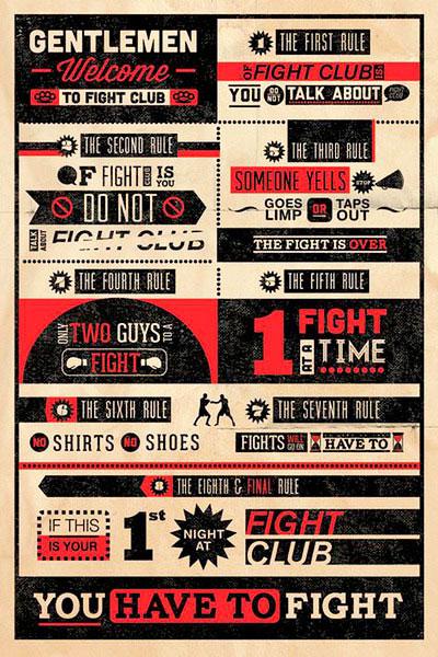 Póster con las normas del Club de la Lucha