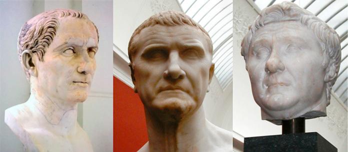 Bustos de Julio César, Craso y Pompeyo
