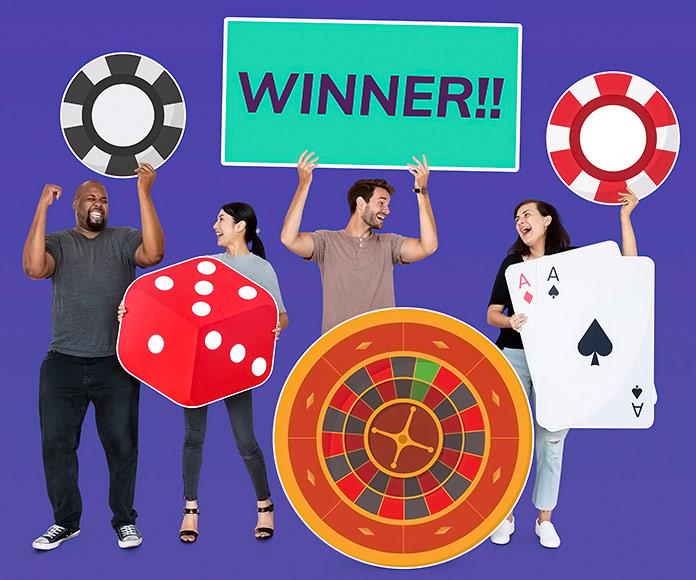 personas sujetando iconos de diferentes juegos de casino