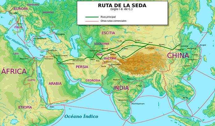 Ruta de la seda en el siglo I d.C.