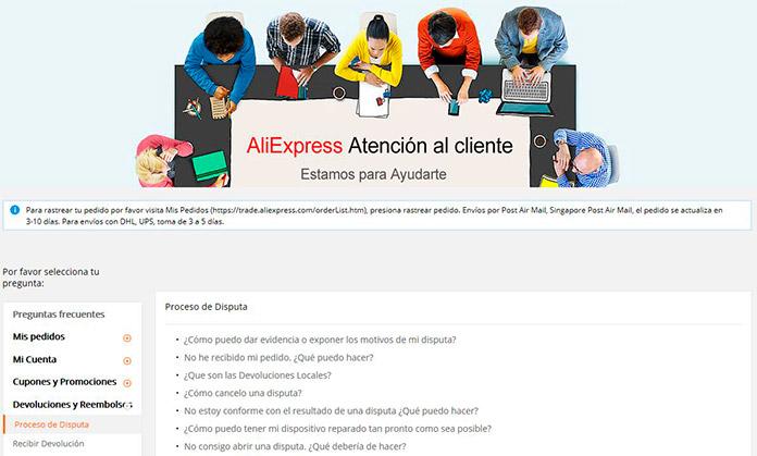 Servicio de Atención al cliente de Aliexpress