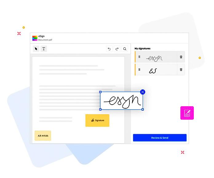 captura de pantalla de la función de firma digital de SmallPDF