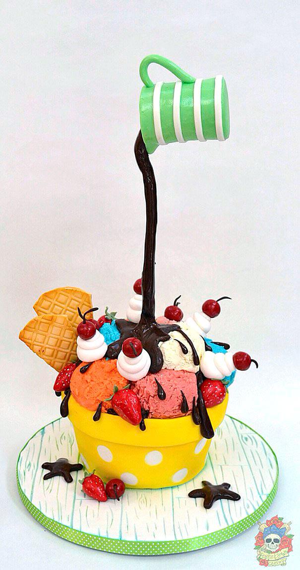 Tarta de helado con chocolate