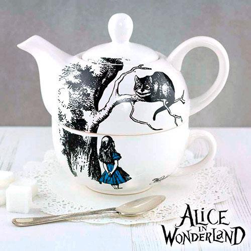 Tetera y taza de Alicia en el país de las maravillas