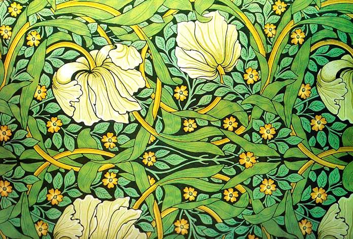 Papel pintado de William Morris con verde de Scheele